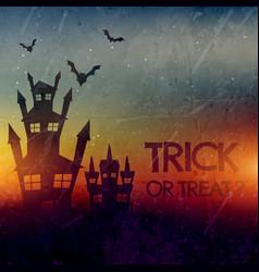 Haunted halloween castle with bats vector