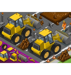 Isometric yellow bulldozer in rear view vector