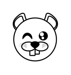Outline beaver head animal vector