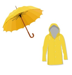 Raincoat and umbrella vector