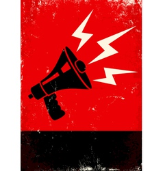 Red poster with megaphone vector image vector image