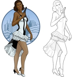 Retro brunette girl mixed race in white and black vector