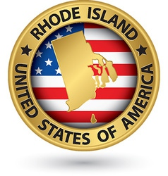 Rhode Island state gold label with state map vector image vector image