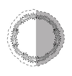 Round label decoration thin line vector