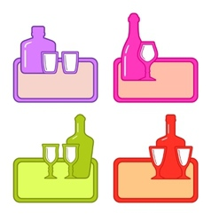 set alcohol bottles with glasses on colorful tray vector image
