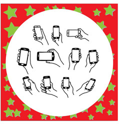 set hand holding smartphone sketch vector image