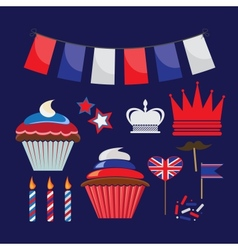 set of icons for United Kingdom party vector image vector image