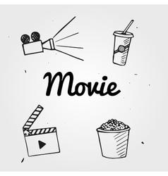 Set of popcorn camera hand drawn movie graphic vector image