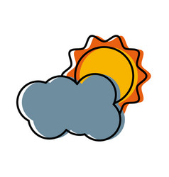 sun and cloud weather symbol vector image
