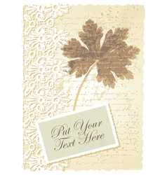 Vintage geranium leaves card vector image vector image