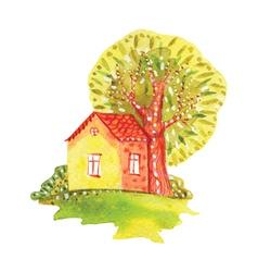 Watercolor house vector