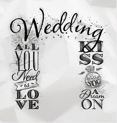 Wedding arch backdrop kiss vector
