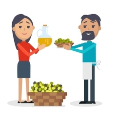Woman with bottle of olive oil man with olives vector