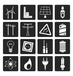 Black electricity power and energy icons vector