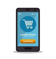 Shopping cart online smartphone virtual app vector
