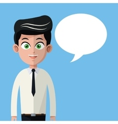 Cartoon man necktie business with bubble speech vector
