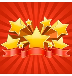 Red stars burst background vector