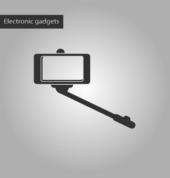 Black and white style icon smartphone selfie stick vector