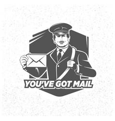 vintage postman symbol mail stamp vector image