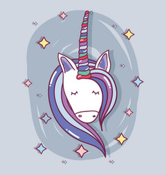 Beautiful head unicorn with long mane vector