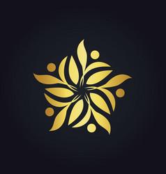 Gold leaf decoration ecology logo vector