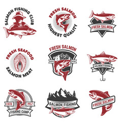 set of salmon fishing emblems design elements for vector image