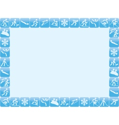 Winter sports icons frame vector