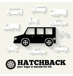 Flat hatchback car concept set icon backgrounds vector