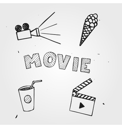Popcorn camera hand drawn movie vector