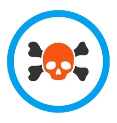 Skull and bones rounded icon vector