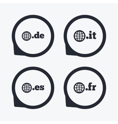 Top-level domains signs de it es and fr vector