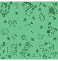 Set of summer doodle art vector image