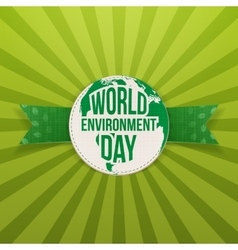 World environment day label and ribbon vector