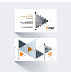 Business card template with triangles and arrows vector image