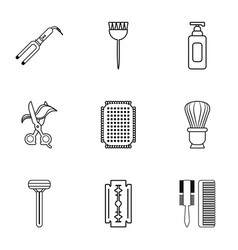 Beauty salon stuff icons set outline style vector