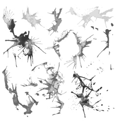 Black and white water color splash stains vector