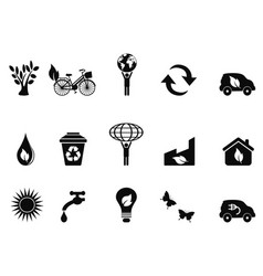 black environment icon set vector image vector image