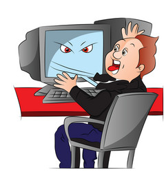 boy attacked by his computer vector image vector image