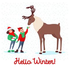 children feeding deer on winter holidays vector image vector image