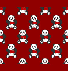 Cute panda with red letter on red background vector