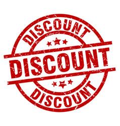 Discount round red grunge stamp vector