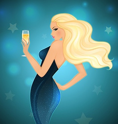 Elegance blond woman with champagne vector