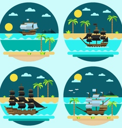 Flat design of pirate ships sailing vector image