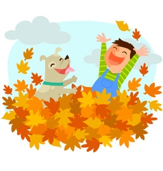 fun of autumn vector image