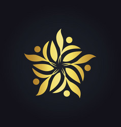 Gold leaf decoration ecology logo vector