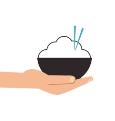 Hand holding rice bowl with chopsticks icon vector