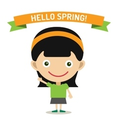Hello summer cartoon girl with hands up vector