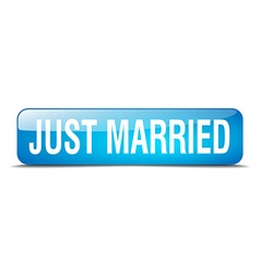 Just married blue square 3d realistic isolated web vector