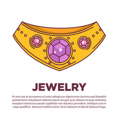 Luxury jewelry kind wearing on neck flat vector