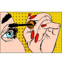 Makeup eyeliner make-up applying closeup vector